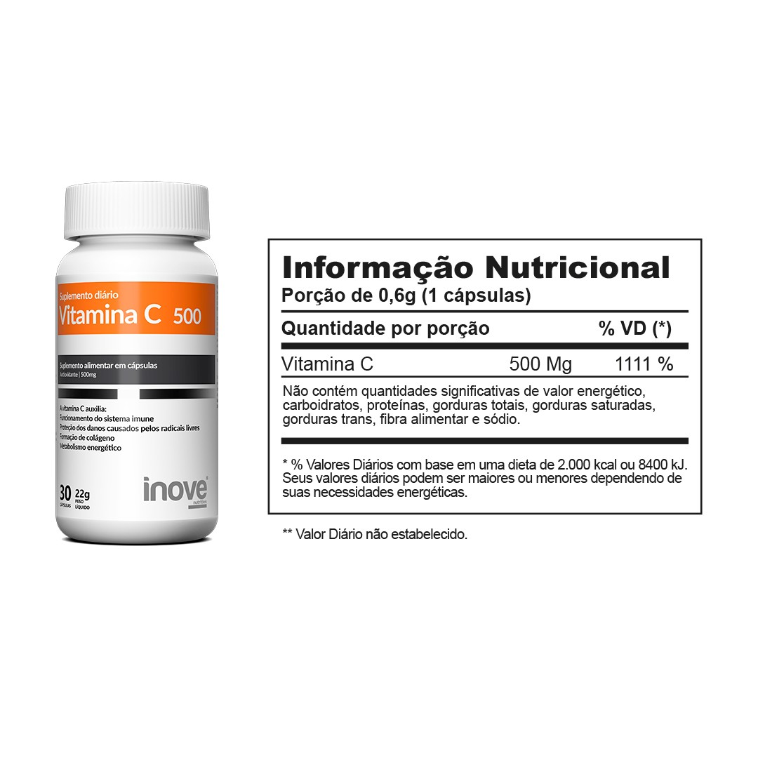 Kit 01 Vitamina C 500 - 60 caps + 01 Ômega 3 1000mg - 60 caps Inove Nutrition