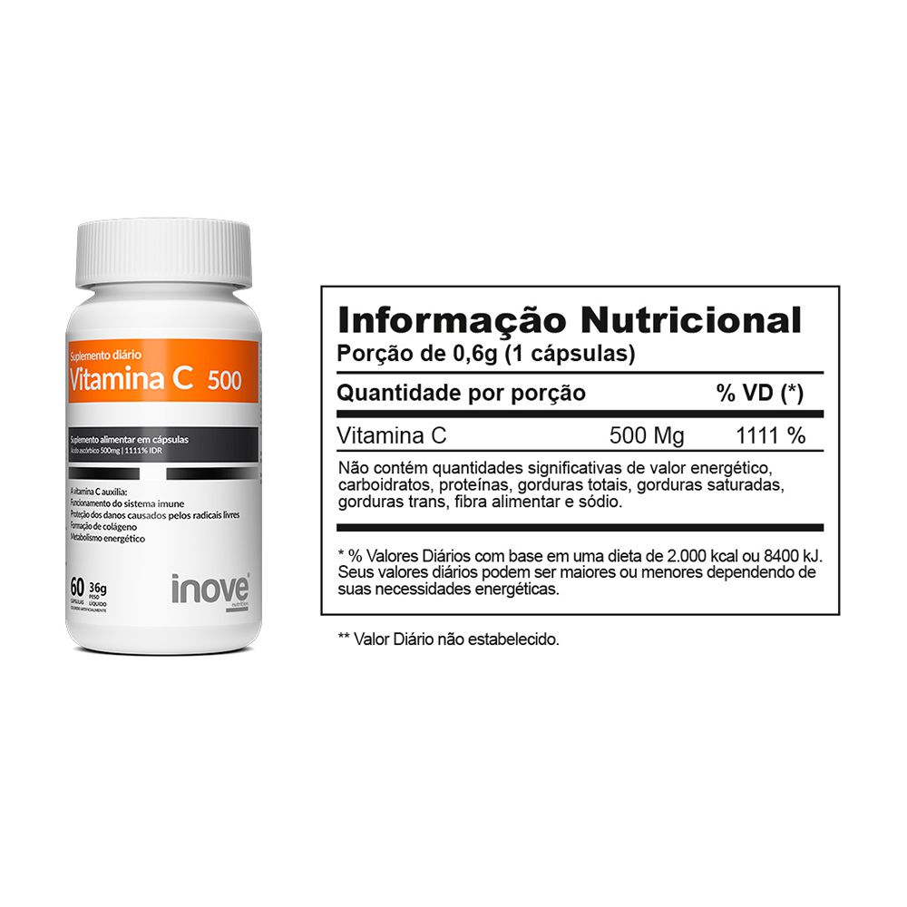 Kit 01 Vitamina C 500mg + 01 Vitamina D 1.000 UI Inove Nutrition
