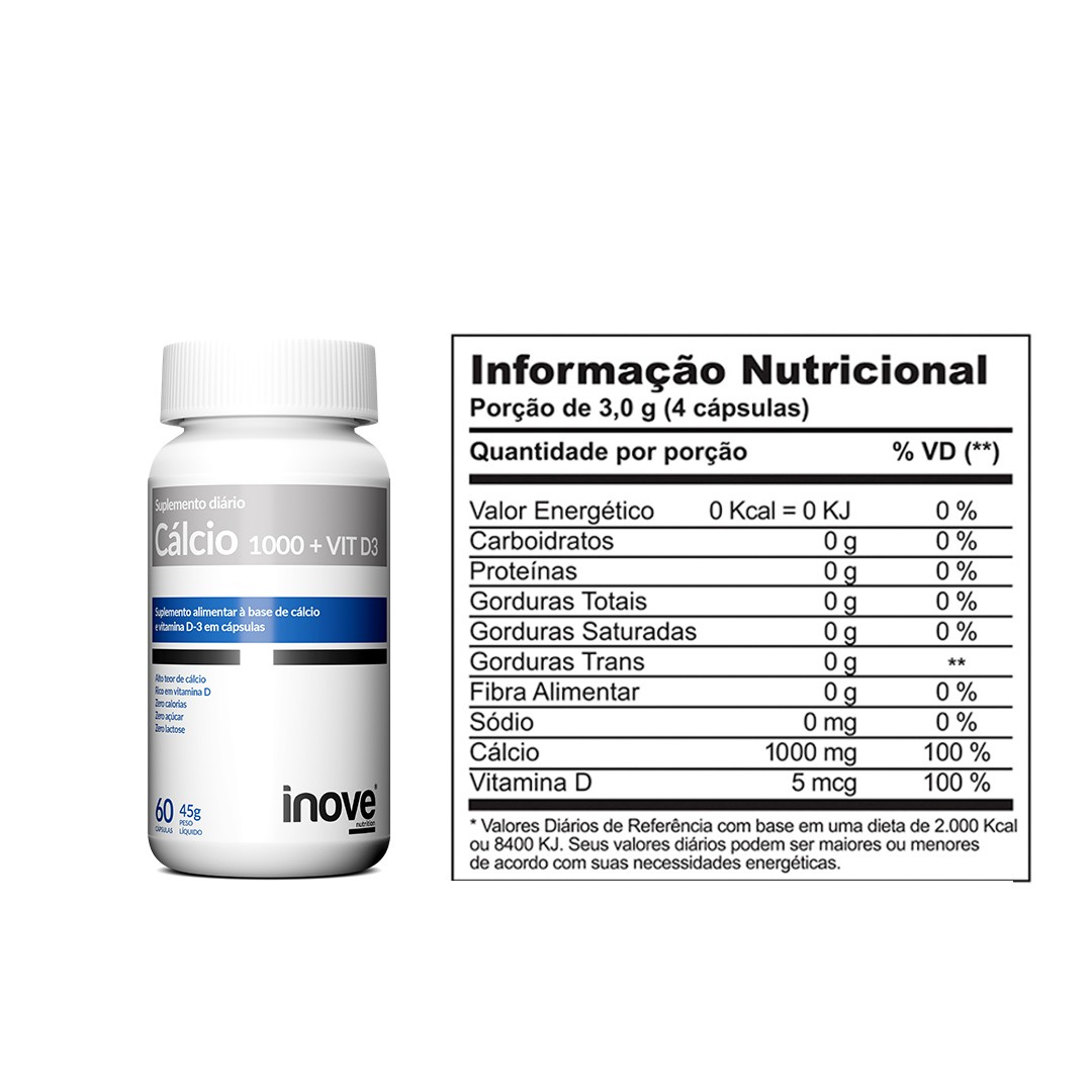 Kit 3x Cálcio 1000 + Vitamina D3 - 60 caps. cada - Inove Nutrition