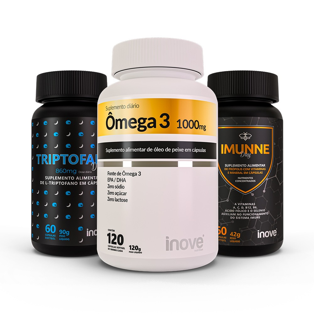 Kit Imunne Day (Própolis + Vitaminas e Minerais) 60 caps + Ômega 3 1.000 mg - 120 caps + Triptofano Dreams 860mg 60 caps - Inove Nutrition