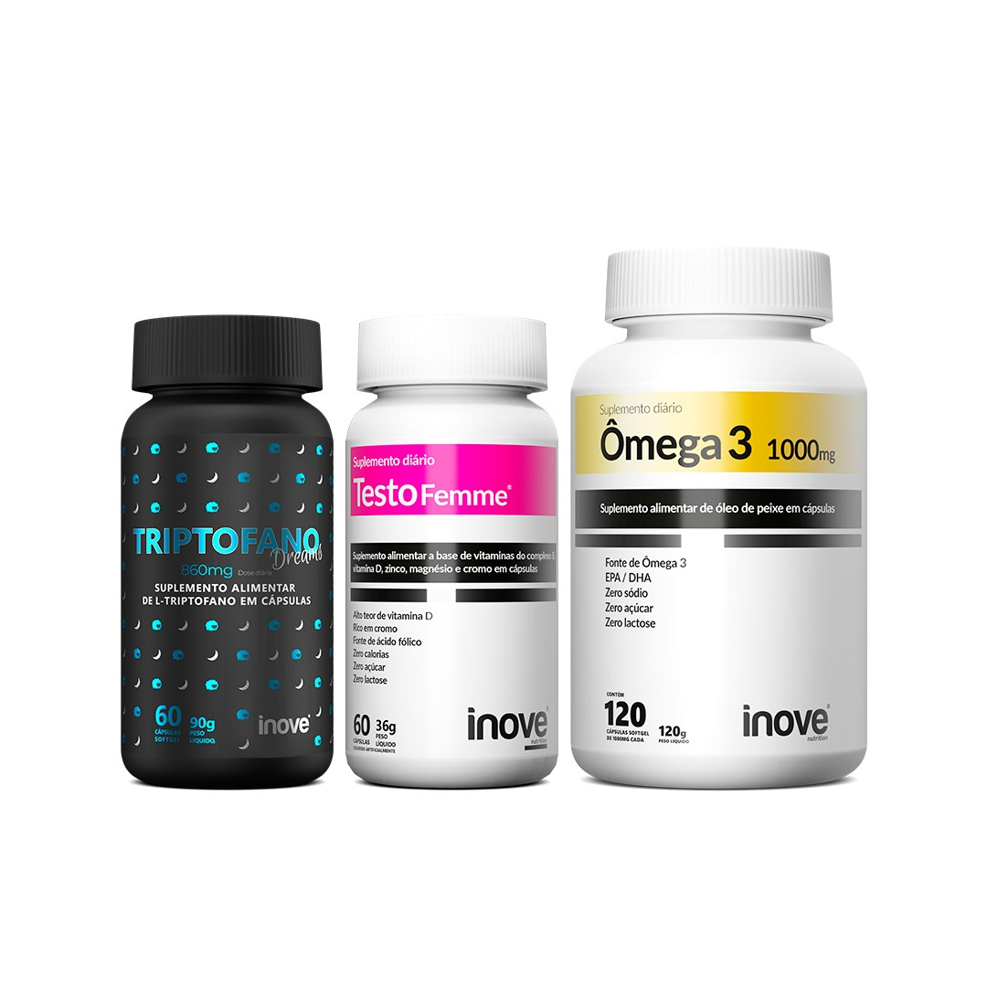 Kit Triptofano Dreams 860mg + Ômega 3 120 caps + Testofemme + Brinde Inove Nutrition