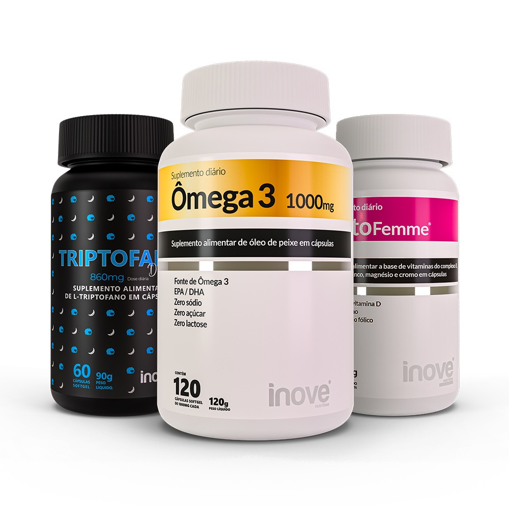 Kit Triptofano Dreams 860mg 60 caps + Ômega 3 120 caps + Testofemme 60 caps - Inove Nutrition