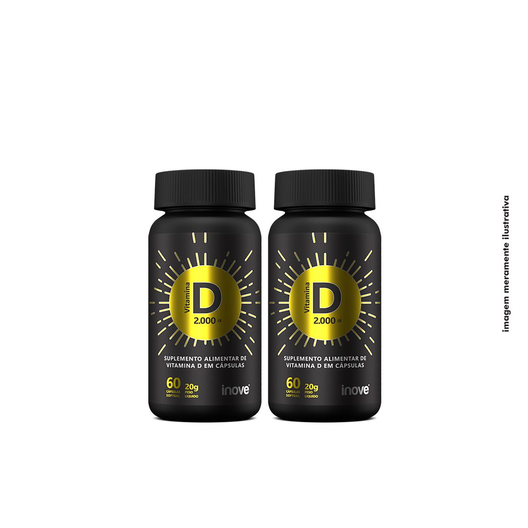 Kit Vitamina D 2.000 ui Inove Nutrition  02 potes  C/ 60 cápsulas softgel