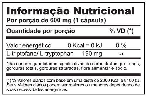 Tryptophan (triptofano) c/ 30 cápsulas (sono e bem estar)