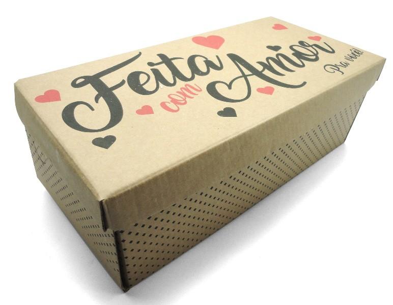 100 caixas adulto - 28 X 12 cm - Kraft Feito Amor