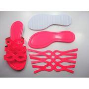 Kit para fabricação de rasteirinhas - Cabedal Fluorescente Pink