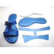 Kit para fabricação de rasteirinhas - Cabedal H Metalizado Azul