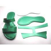 Kit para fabricação de rasteirinhas - Cabedal H Metalizado Verde