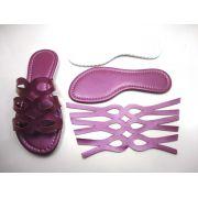 Kit para fabricação de rasteirinhas - Cabedal Metalizado Roxo
