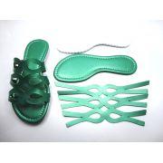 Kit para fabricação de rasteirinhas - Cabedal Metalizado Verde
