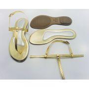 Kit para fabricação de rasteirinhas - Cabedal Tiras 9 mm - Ouro