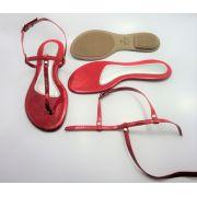 Kit para fabricação de rasteirinhas - Cabedal Tiras 9 mm - Verniz Vermelho