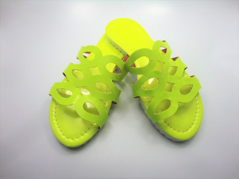 Cabedal rasteirinha fluorescente amarelo