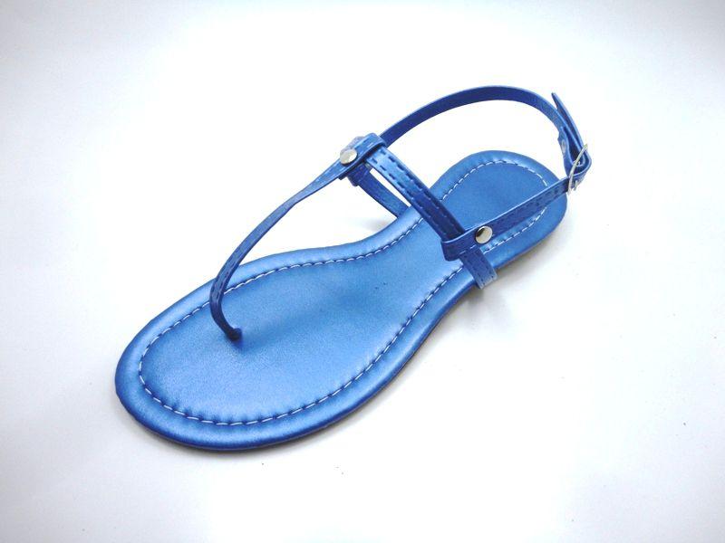 Cabedal rasteirinhas  tiras 9 mm metalizado azul