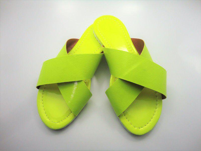 Cabedal rasteirinha X fluorescente amarelo