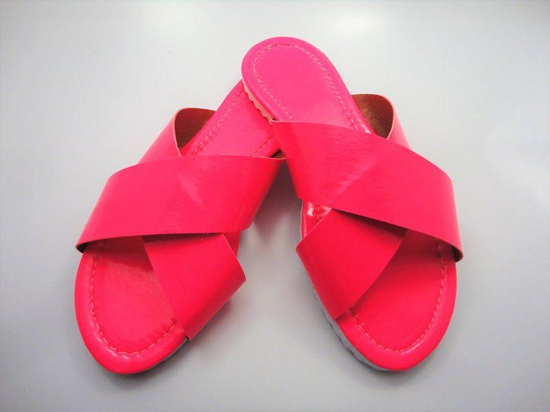 Cabedal rasteirinha X fluorescente pink