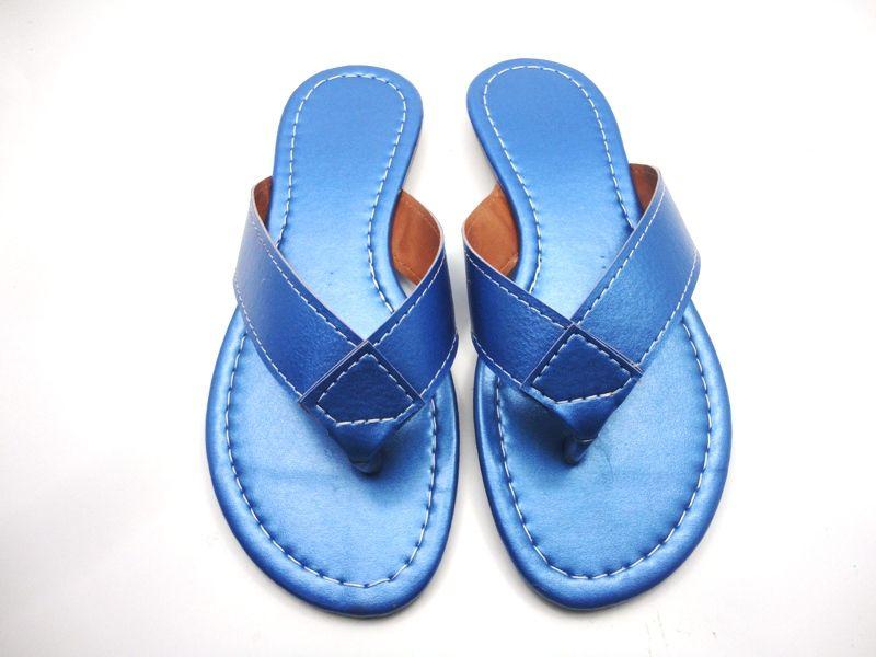 Cabedal rasteirinhas dedo - metalizado azul