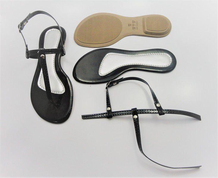 Kit para fabricação de rasteirinhas - Cabedal Tiras 9 mm - Verniz Preto