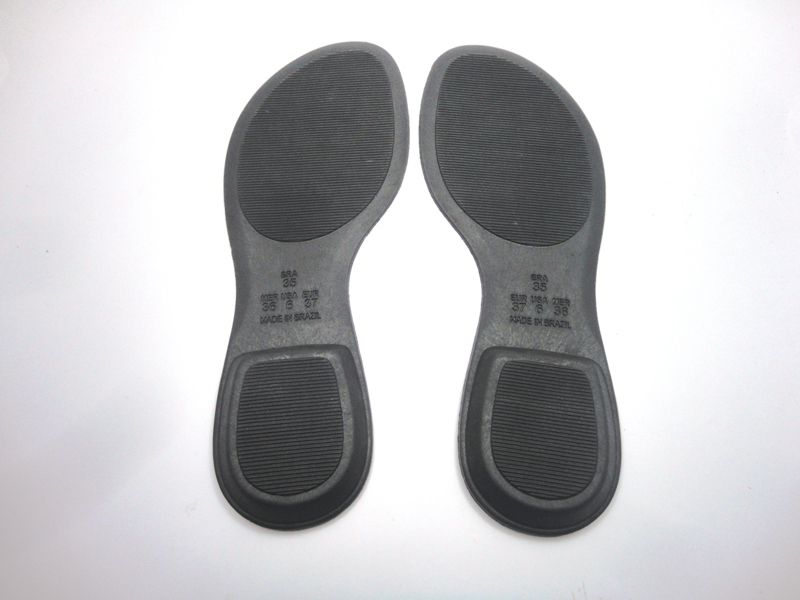 Solado Rasteirinha PVC Preta Ref. 1002 + Palmilha Costurada Metalizada Roxa - Grade 15 pares