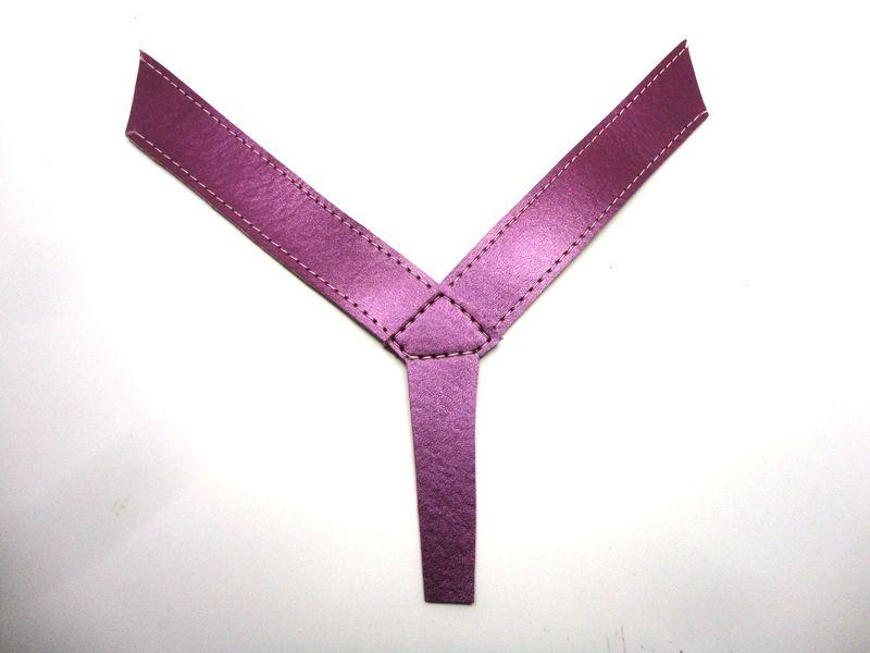 Kit para fabricação de rasteirinhas - Cabedal dedo metalizado roxo