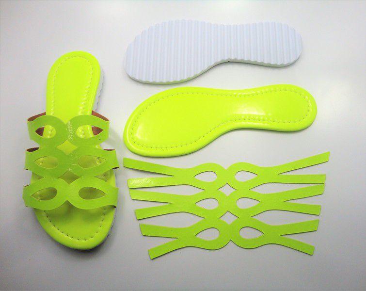 Kit para fabricação de rasteirinhas - Cabedal Fluorescente Amarelo