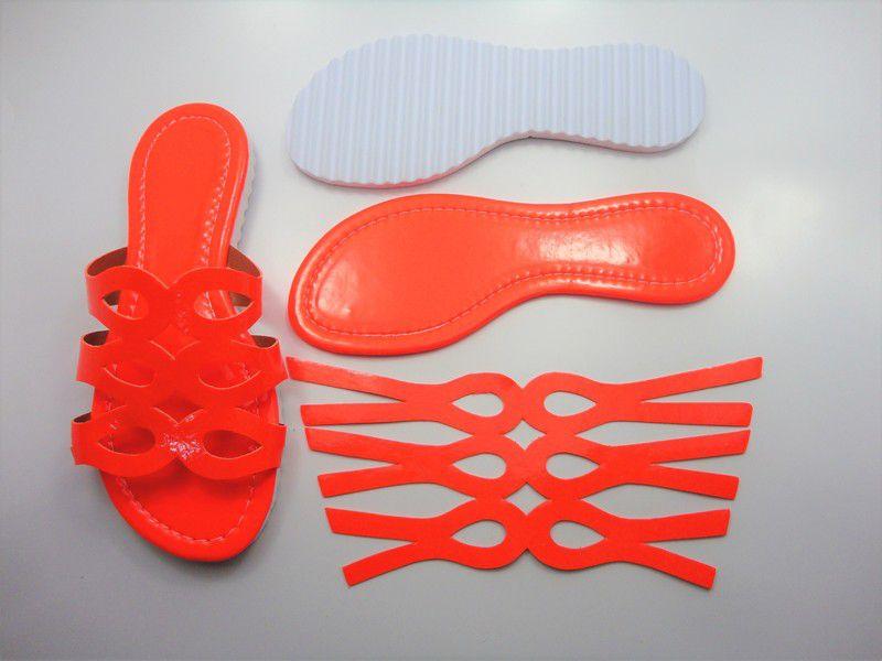 Kit para fabricação de rasteirinhas - Cabedal Fluorescente Laranja