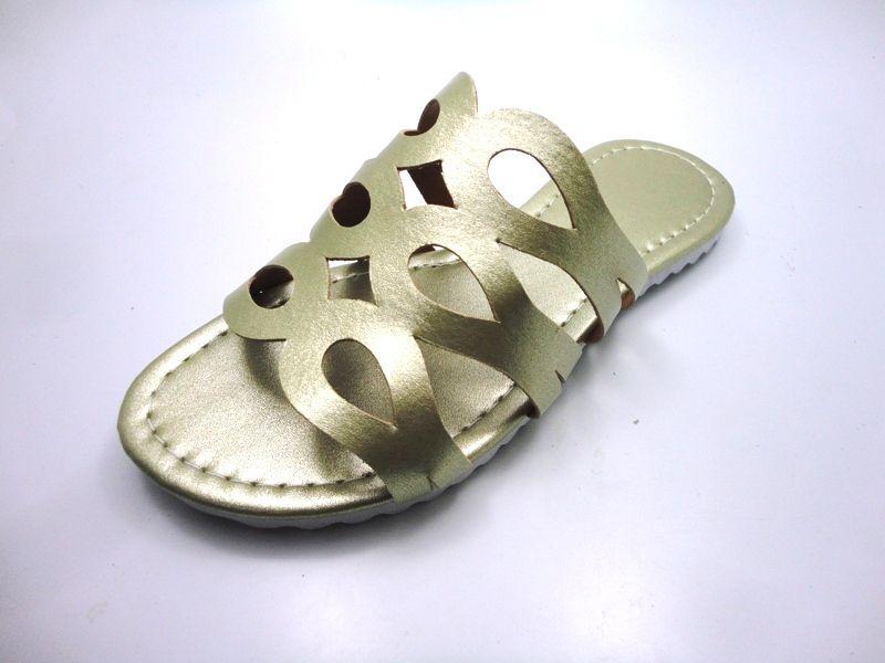Kit para fabricação de rasteirinhas - Cabedal Metalizado Dourado