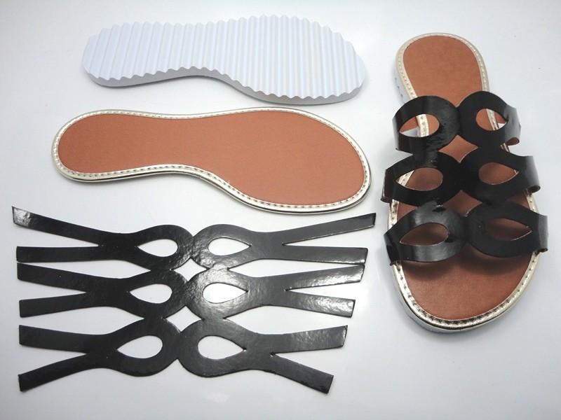 Kit para fabricação de rasteirinhas - Cabedal Preto