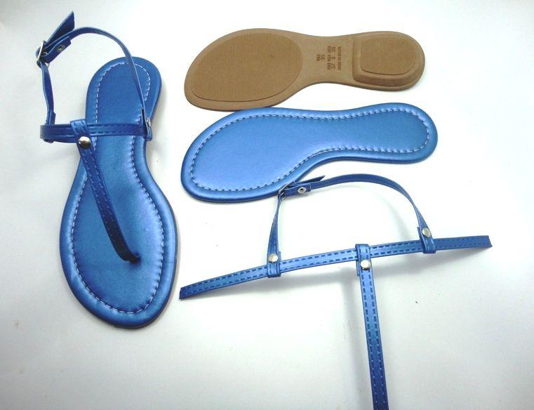 Kit para fabricação de rasteirinhas - Cabedal Tiras 9 mm - Metalizado Azul