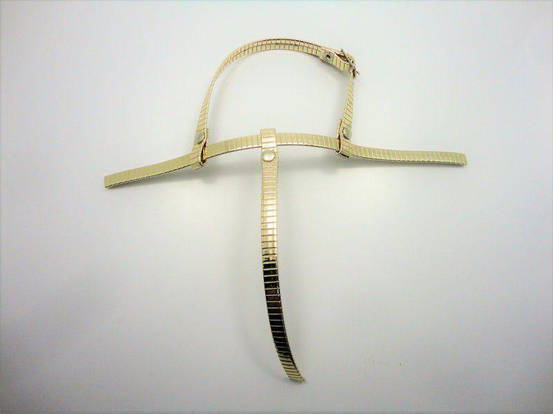 Kit para fabricação de rasteirinhas - Cabedal Tiras 8 mm - Ouro Marcado
