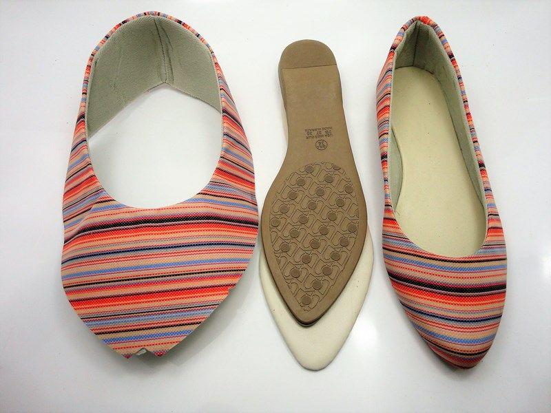 Kit para fabricação de sapatilhas bico fino - Tecido Listrado