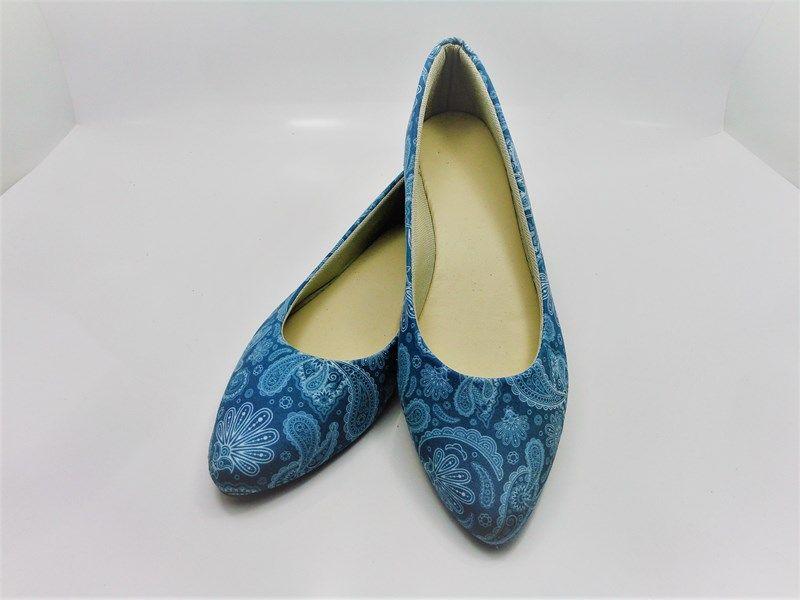 Kit para fabricação de sapatilhas bico fino - Tecido Vintage