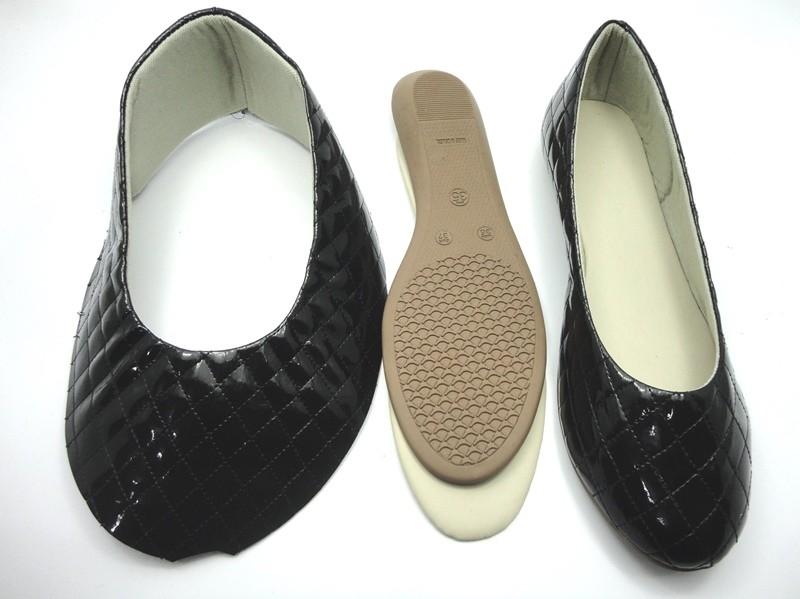 Kit para fabricação de sapatilhas bico redondo - Matelassê Preto