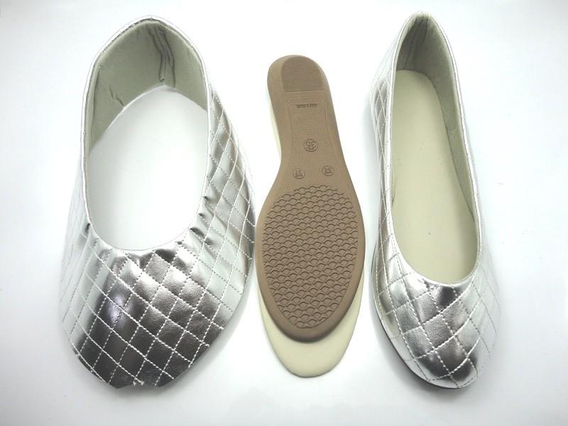 Kit para fabricação de sapatilhas bico redondo - Matelassê Prata