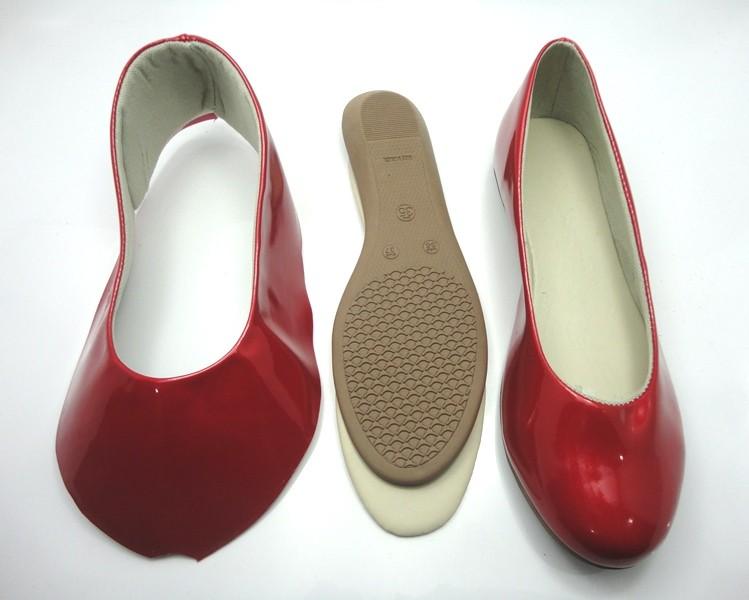 Kit para fabricação de sapatilhas bico redondo - Verniz vermelho