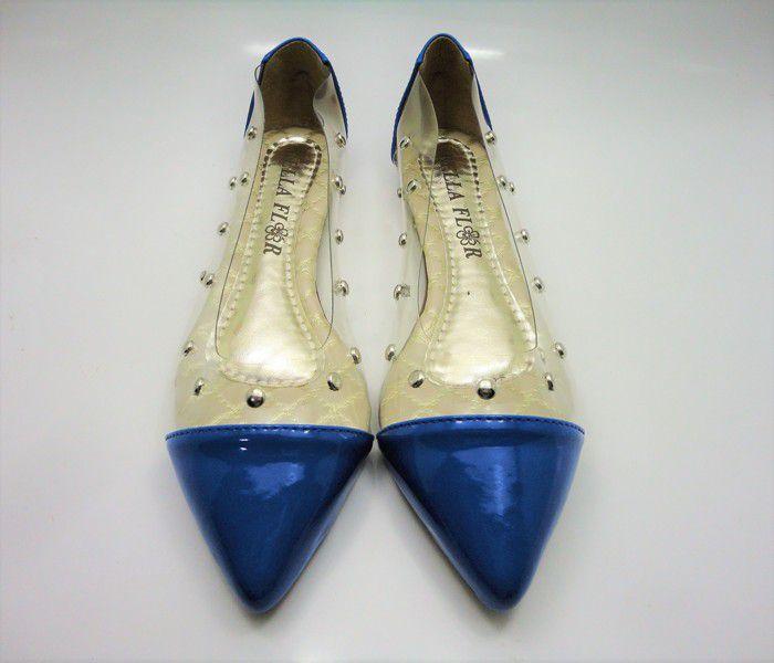 Sapatilha bico fino Vinil com Spike/Verniz Azul