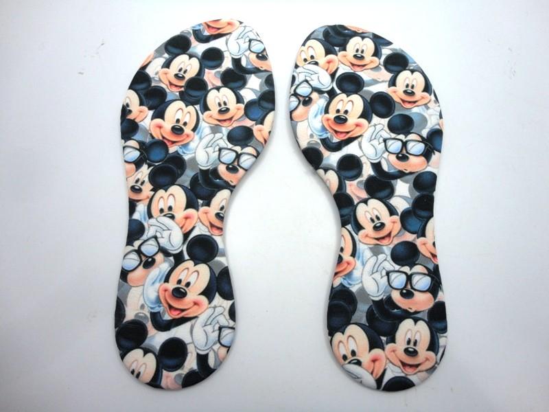 Solado Rasteirinha Infantil PVC Bege Ref. 098 + Palmilha Enfachetada Mickey - Grade 15 pares