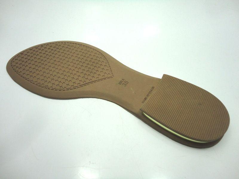 Solado Rasteirinha PVC Bege Ref. 3600 + filete dourado no salto + Palmilha c/ viés - Grade 15 pares