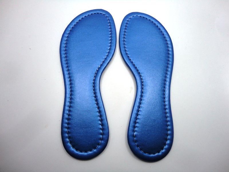 Solado Rasteirinha PVC Preta Ref. 1002 + Palmilha Costurada Metalizada Azul - Grade 15 pares