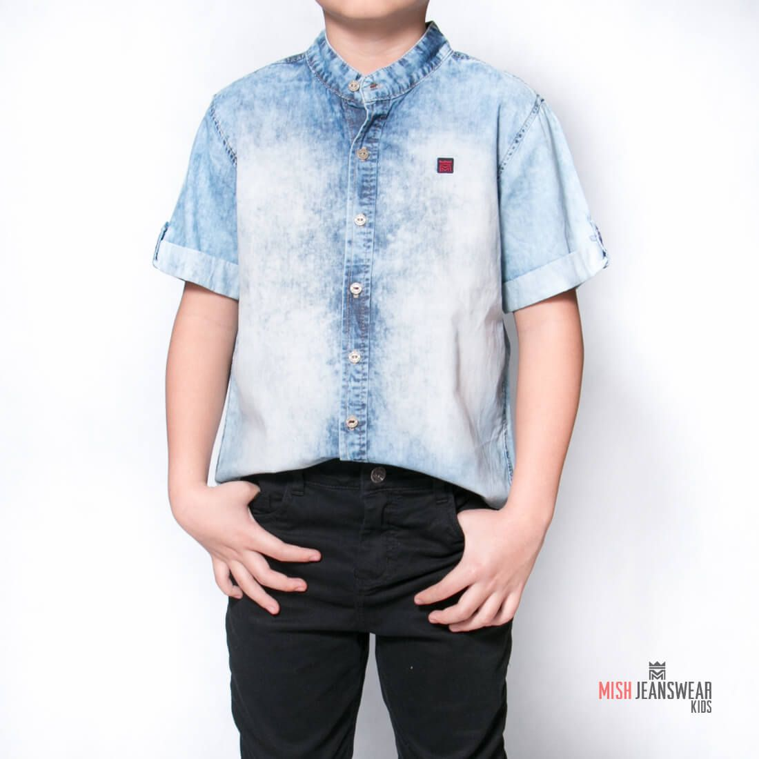 5712aa928a1a1 Camisa jeans infantil gola padre Mish masculina