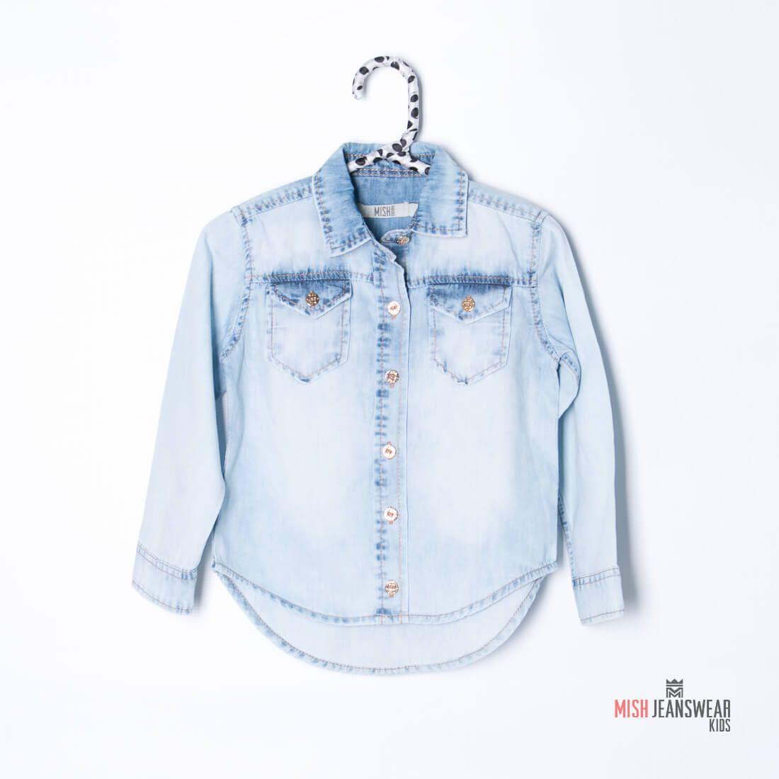 Camisa jeans infantil Mish feminina