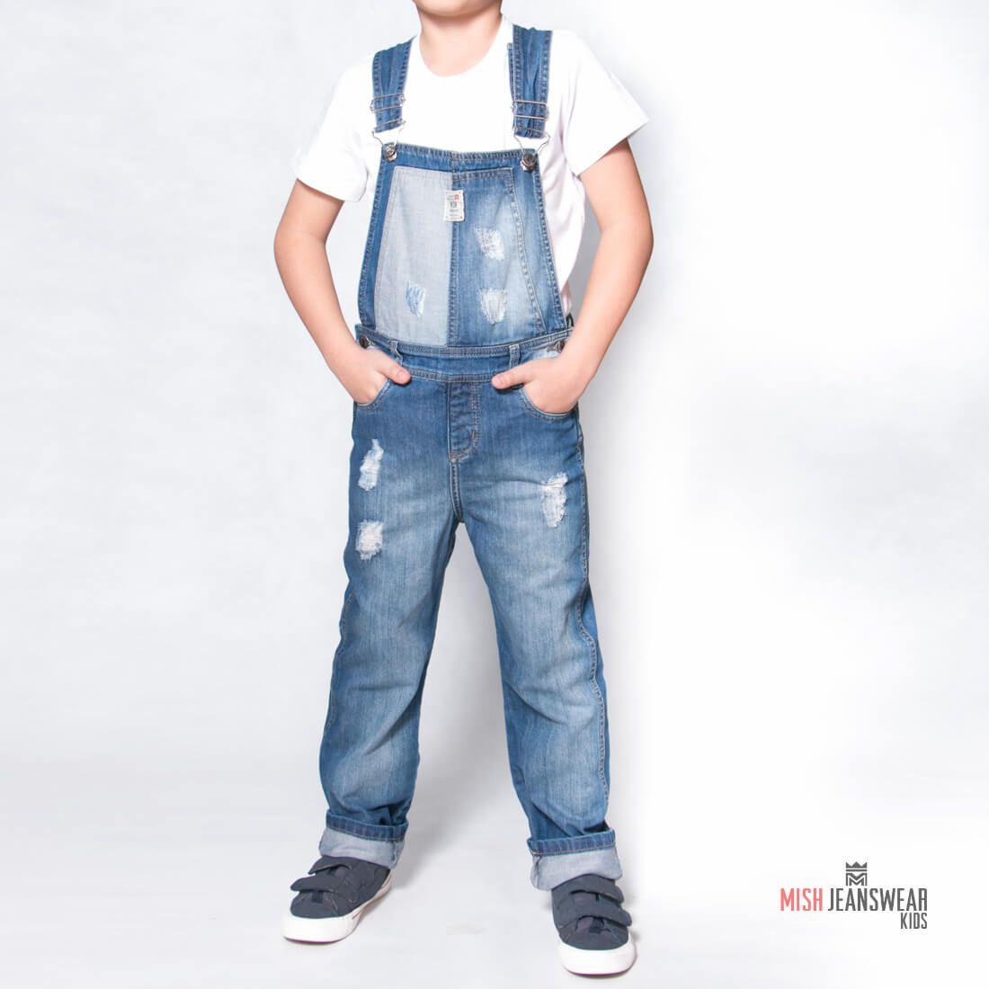 52a357ce1 Jardineira jeans infantil Mish masculina
