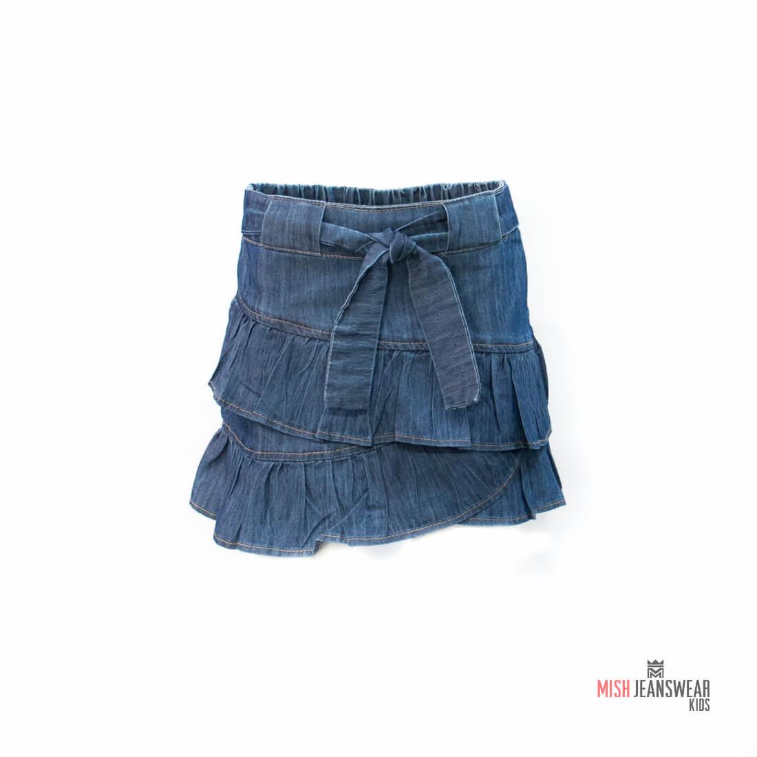 Saia jeans infantil com babado Mish feminina