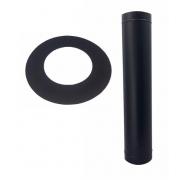 Duto preto,  Damper, curva,e anel de acabamento de 150mm