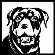Quadro Decorativo Fabricado Em Aço Modelo Rottweiler Preto