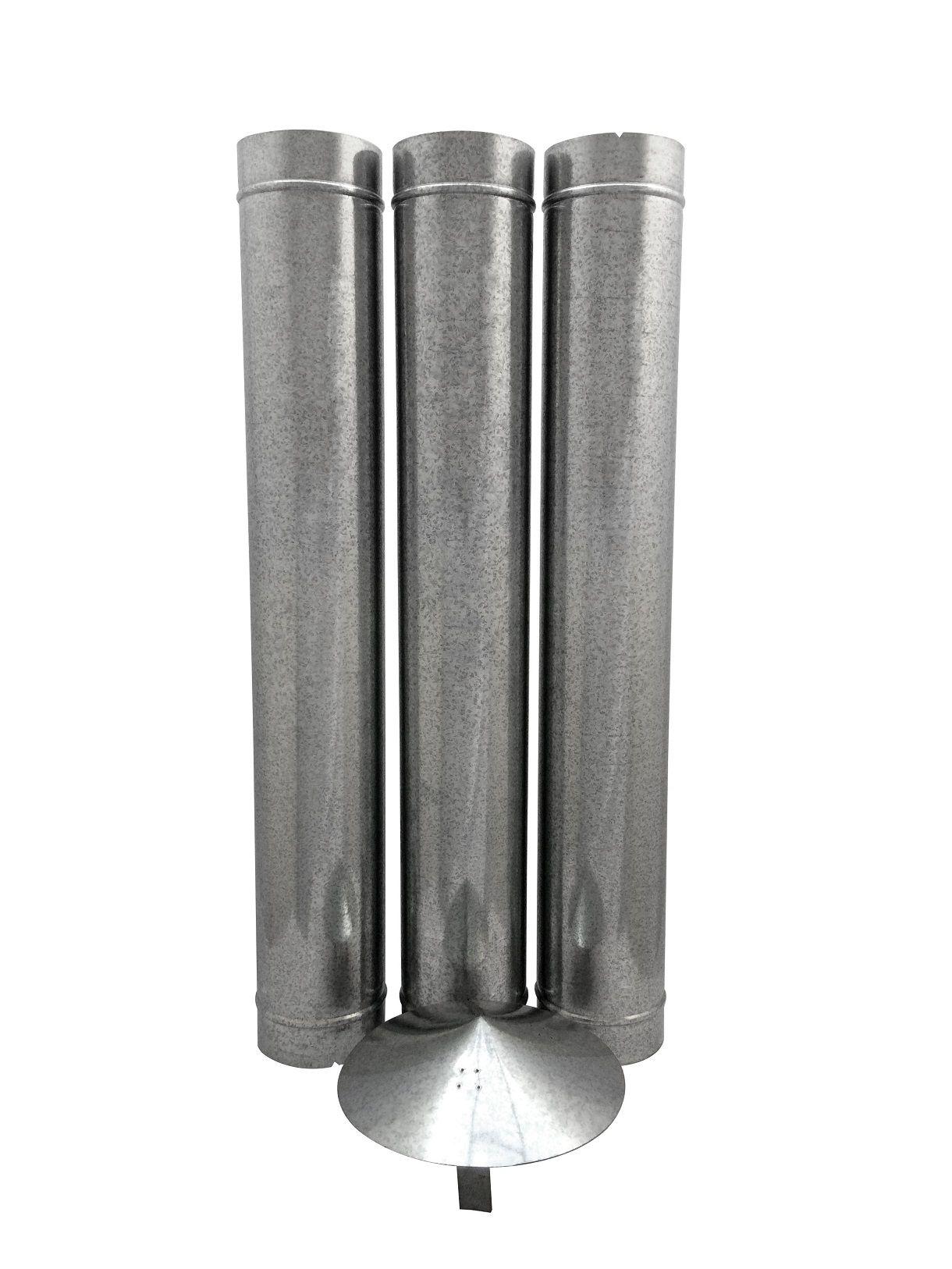 1,80 m de duto galvanizado de 130 mm de diâmetro com chapéu chinês  - Galvocalhas