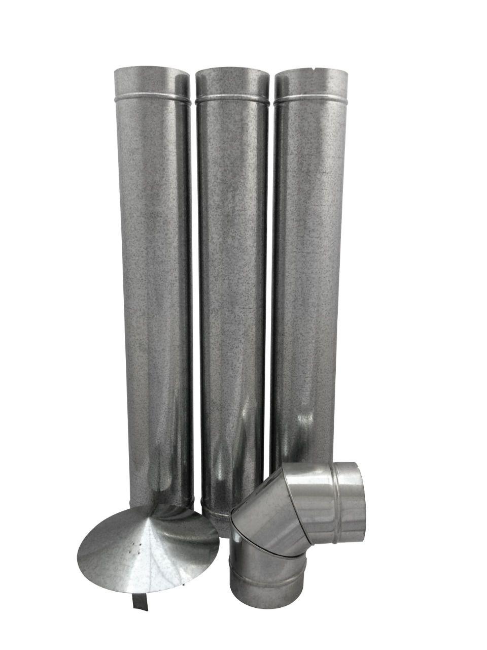 Chamine de 115 mm galvanizada com curva e chapéu para forno  - Galvocalhas