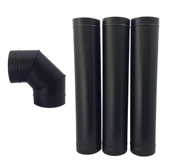 Chamine de 115 mm preta com curvas  - Galvocalhas
