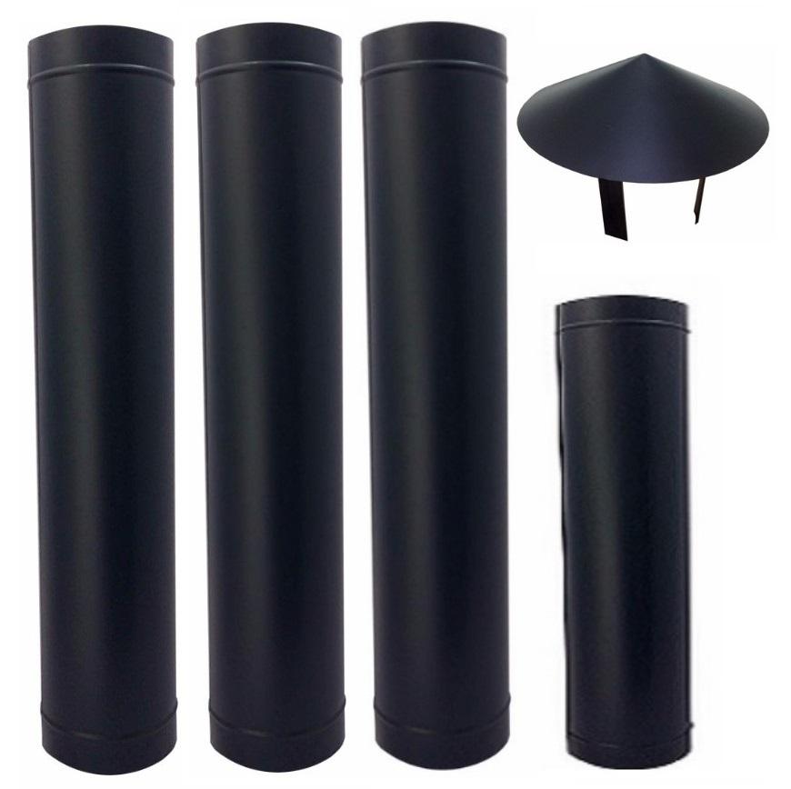 Chamine de 200 mm preto com chapéu chinês para churrasqueira  - Galvocalhas