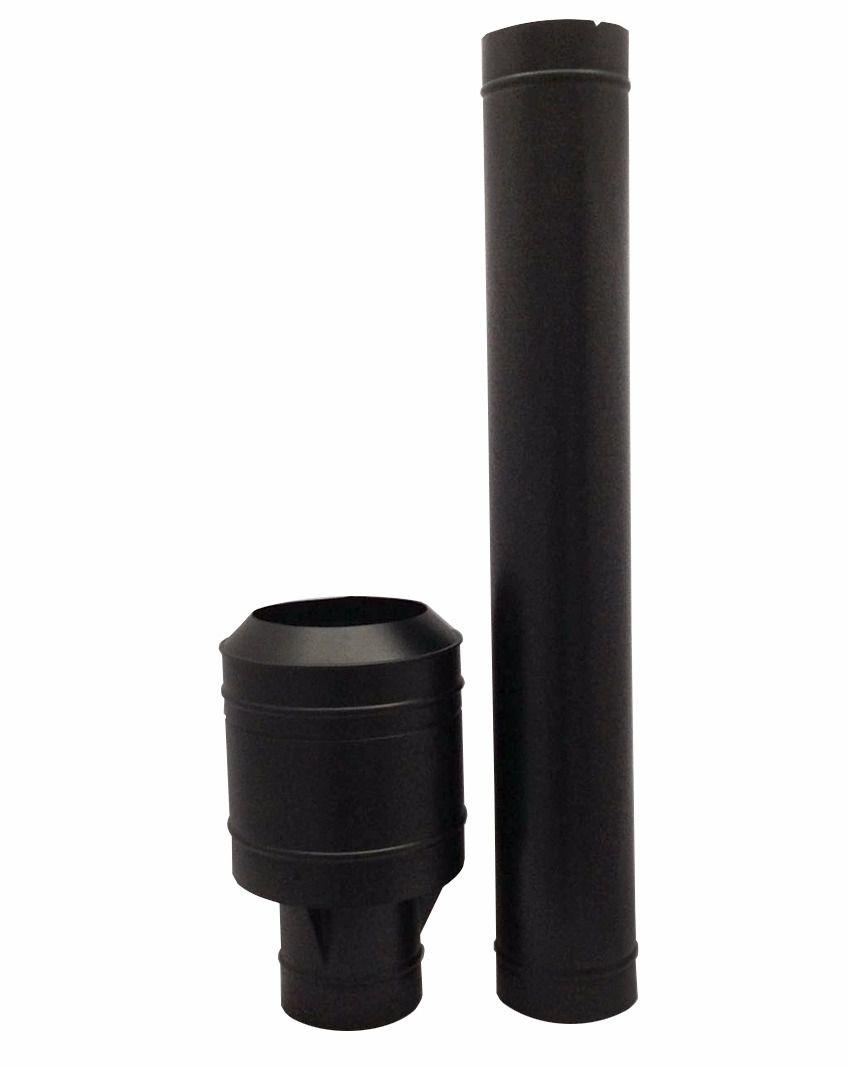 Chamine preta de 150 mm com chapéu canhão  - Galvocalhas